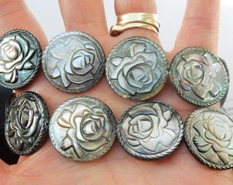 Big, Black  Mother of pearl round beads with carved rose flower design, flower beads (25mm)