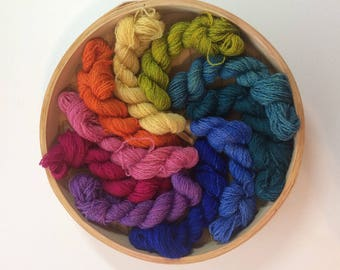 Rainbow Hand Dyed Laceweight Crewel Tapestry Embroidery Yarn No. 131, 50 grams, hand painted, wool