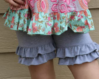 light heather gray shorties  sizes 12m - 14 years.
