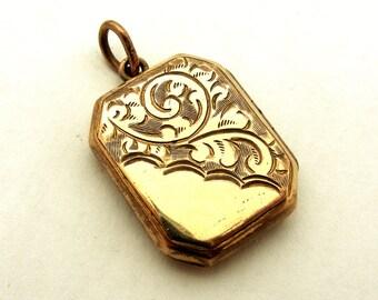 Antique English gold filled engraved rectangular locket