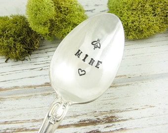 Be Mine. Stamped Spoon for Valentine's Day Gift Idea. Gift for Boyfriend. Gift for Girlfriend. Hand Stamped Vintage Silverware. 602SP