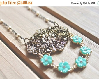 30% OFF CHRISTMAS SALE Edwardian inspired antiqued gold and bronze large filigree penant necklace with rhinestone, pearl, and turquoise flow