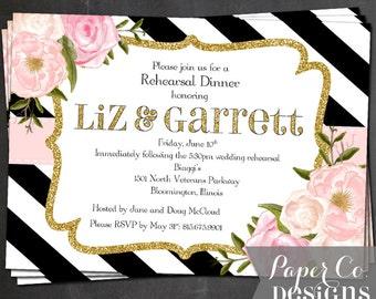 Black, White & Blush Floral Invite - Digital File ONLY