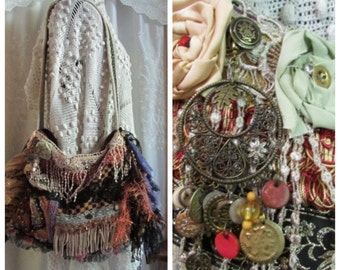 Bohemian Gypsy Bag, uniquely handmade OOAK, embellished with beads buttons lace fringe, gold rust purple