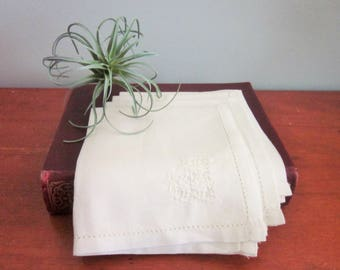 Vintage Linen Luncheon Napkins, Heart Embroidery and Hem Stitching, Tea Party, Cottage Chic, Shabby Chic