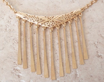 Fringe Necklace Emmons Bib Gold Tone Adjustable Vintage 032015SB