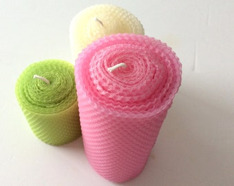 Pretty Spring Beeswax Candles, Beeswax Pillar Candles, Beeswax Candle Centerpiece, Green Beeswax Candles, Pink Beeswax Candles