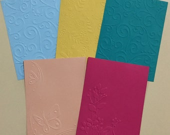 EMBOSSED CARDSTOCK 41/4 x 51/2 inches 5 pack Mixed Backgrounds 3