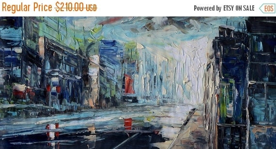 70%OFF ORIGINAL Painting Oil Painting art painting on canvas Palette Knife Blue Textured home decor wall hanging large painting impasto Marc