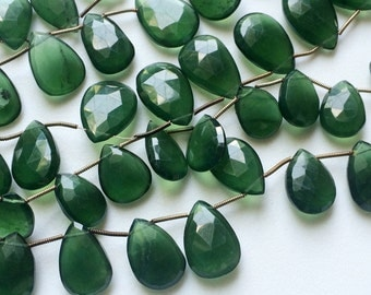 Russian Serpentine Beads, Serpentine Faceted Pear Beads, Russian Serpentine Necklace, 11x15mm, 12 Pcs - AGA122