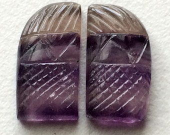 Fluorite Hand Carving, Hand Carved, Filigree Finding, Stone Carving, Multi Fluorite, 2 pc Matched Pair - VCA14
