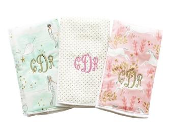 Monogrammed Burp Cloth Trio - Mermaid Burp Cloth Gift Set - Gold Metallic Burp Cloth - Unicorn Burp Cloths - Mermaid Baby Gift