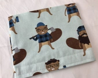 Reusable Snack Bag - Reusable Baggie - Beaver Snack Bag - Fabric Snack Bag - Reusable Fabric Snack Bag - Reusable Baggie - Busy Beavers Blue