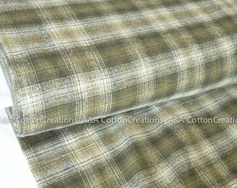 Olive Mammoth Flannel Fabric, Plaid Flannel, Plaid, Apparel fabric, Fabric by Yards, Robert Kaufman Fabrics, 15601-7 Green