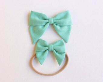 Sailor Bows - Large and Mini - Aloe