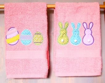 "Easter Applique Towel Set.  Bunnies and Easter Eggs. Cotton Tail Bunnies.  16"" x 26"".  Ready to ship.  Great gift. Hand Towel Set"