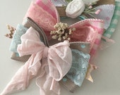 Cottontail easter headband bow clip, cozette couture, hair accessory