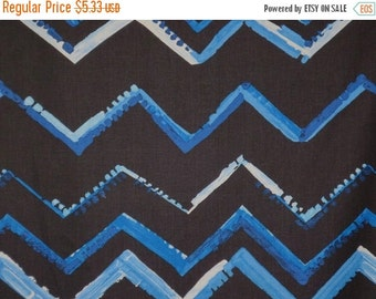 ON SALE SPECIAL--Shades of Blue Modern Chevron Print Pure Cotton Fabric--One Yard