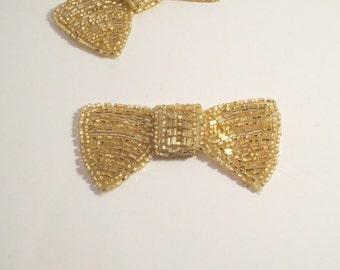 Light Gold Beaded Bow Appliqué--One Piece