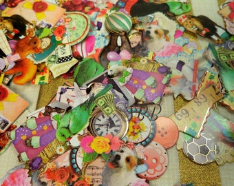 30 Pc Antique Booklatte Q-LiA Grab Bag Style Sticker flakes For Snail mail, cards, gifts, planners, photos, cell phones, scrapbooking, Resin