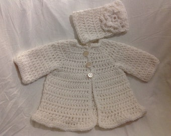 Bright white cardigan sweater and headband with flower accent vintage buttons thick super soft yarn six to 12 months