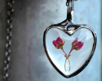 Romantic Gift, Dried Heather Buds Entwined, Heart Pendant, Real Flower Jewelry, Romantic Jewelry, Reminds me of Beauty & the Beast (2576)