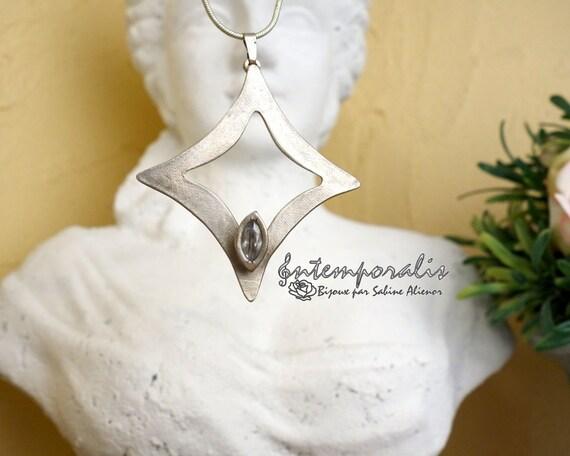 White bronze, silver color with a cristal cubic zirconium pendant, OOAK, SAPE07
