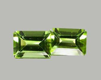 PERIDOT  (33496) -  PAIR (2 Stones)  Sparkle Emerald Cut 7 x 5mml Lovely Green Peridot - Faceted