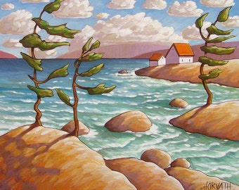 Rocky Lakeshore Trees Windy Seascape 5x7 Art Print by Cathy Horvath, Summer Cottage Coastal Water Landscape, Ocean View Acid Free Artwork