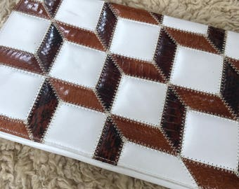 Awesome Vintage Late 70s Early 80s White Leather Clutch with Brown Eelskin and Snakeskin Inserts and Chain link Shoulder Strap