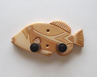 Ukulele wall mount hanger, hook, tropical fish