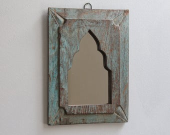 Small Mirror Moroccan Mirror Accent Mirror Small Mirror Boho Mirror Vintage Wood Mirror Moroccan Decor Turkish Interior Chippy Blue