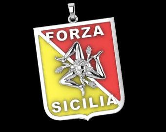 Sicilian Trinacria Pendant Jewelry Sterling Silver Forza Sicilia Sicily Flag New
