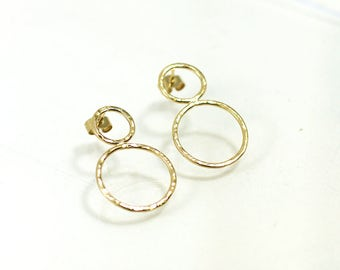 Gold plated bubbles earrings, hammered circles, bubble shape, handmade in France