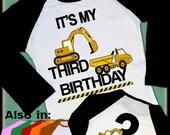 SALE ENDS MAR7 Construction Birthday Shirt 2 sided Raglan - Birthday Shirt - Excavator Shirt -  Big Number Birthday Raglan Personalized shir