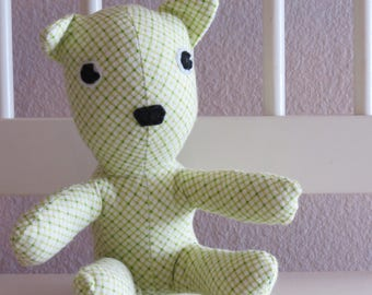 Green Diamond Plaid flannel baby teddy bear stuffed animal