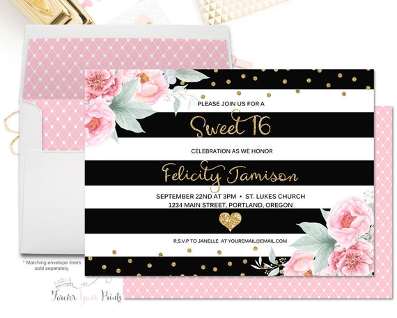 Black and Gold Floral Sweet Sixteen Invitation, Floral Sweet 16 Invitation, Girls Sweet 16 Party, Sweet Sixteen Party, Quinceañera Party