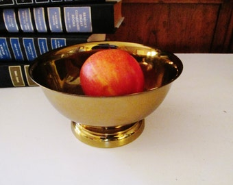 Vintage Brass Bowl, Paul Revere Reproduction Bowl, Hollywood Regency
