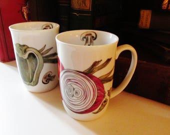 Seymour Mann Les Vegetables Mugs, Original Watercolor Prints, Bistro Kitchen, 1980's Mugs, Rare, Cafe Decor, Collectible Mugs