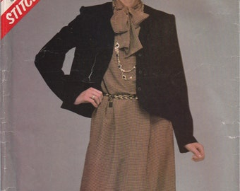 Dress with Jacket Pattern 1983 Misses Size 14 - 16 - 18 uncut Stitch n Save 8743