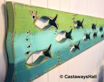 Wood School of Fish Art Sign Panel Horizontal Sea Glass or Driftwood Colours Beach Lake House Decor Cabin Cottage by CastawaysHall