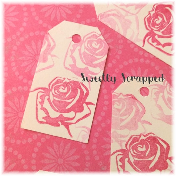 Distressed ROSE TAGS .... Dark Pink, Shabby, Cream, Small Tags, Labels, Faded, Boutique Tags, Etsy Shop Supplies, Blank on the back