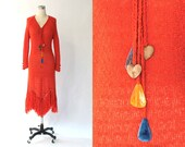 1970s Fringe Sweater Dress // 70s Vintage St. Claire Long Sleeve Red Cotton Knit Mid Length Dress // Medium