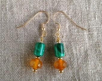 Deep Green Malachite, Carnelian and Gold Dangle Earrings