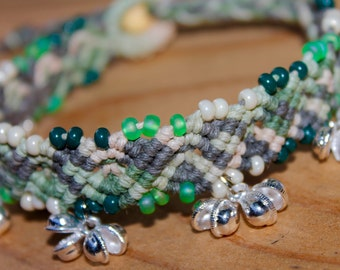 Earth Goddess jingle anklet, hemp jewelry, gypsy, macrame, micromacrame, hippie, music festivals, natural, earth tones