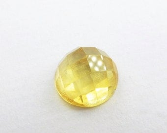 Citrine Rose Cut. Harlequin / Checkerboard  Cabochon. Bright and Lovely. Round. 1 pc. 3.65 cts. 10 mm (CT210)