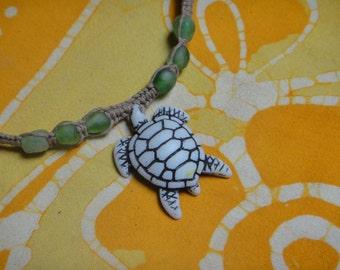 Hawaiian Sea Turtle African Recycled Glass Bead Hemp Necklace