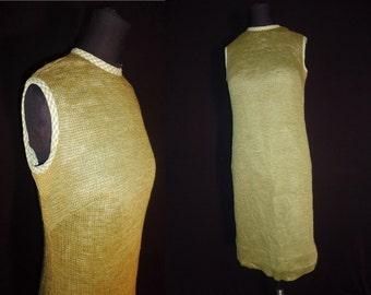 Olive Green Knit Vintage 1960's Women's MOD Sleeveless Shift Dress M