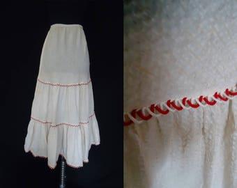 Ivory Cotton Red Striped Vintage 1950's Women's Rockabilly Slip S M