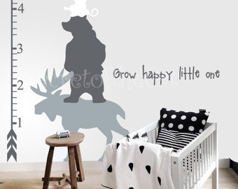 Nursery wall decal - Wall Decals Nursery- Kids Growth Chart - Forest animals Growth Chart Decal - Nursery wall decal- Growth Chart Nursery